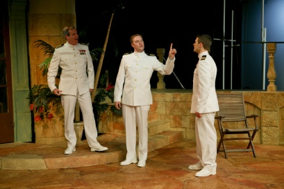 "Jim Gall as Don Pedro, Matt Shimkus as Benedick, and Jay Myers as Claudio in Seattle Shakespeare Company's 2013 production of ""Much Ado About Nothing"""